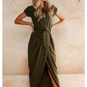 Dresses & Skirts - Army green faux wrap tulip skirt dress